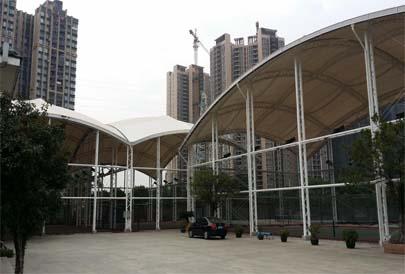 无锡张拉膜结构停车车棚公司无锡张拉结构膜结构雨棚工程